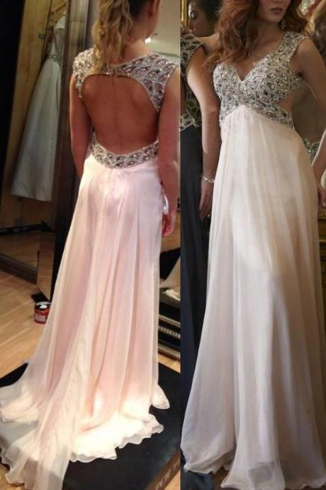 Fashion long prom dress,pink prom dress,chiffion prom dress,beautiful beading prom dress,open back prom dress,a-line princess prom dress,high quality custom prom dress,elegant wowen dress,party dress,evening dress,dress for teens L626