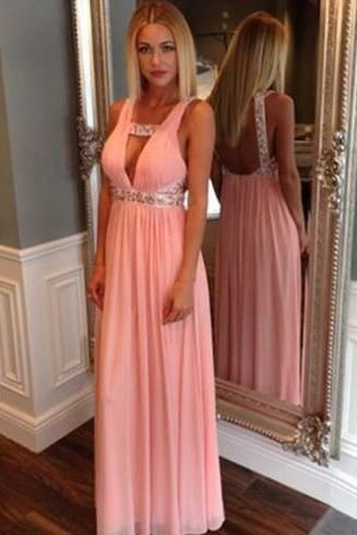 Sexy prom dress,backless prom dress,long prom dress,pink prom dress,chiffion prom dress,beautiful beading prom dress,a-line princess prom dress,elegant wowen dress,party dress,evening dress,dress for teens L662