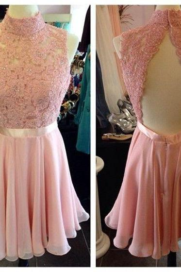 High neck prom dress,lace and chiffion prom dress,short prom dress,homecoming prom dress,open back prom dress,elegant wowen dress,party dress,evening dress,dress for teens L627