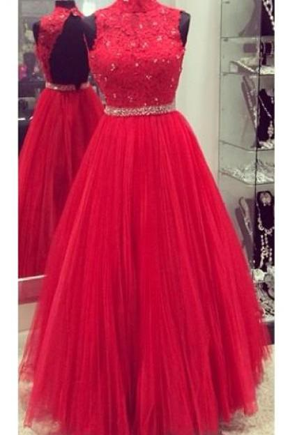 Red prom dress,lace and tulle prom dress, high neck prom dress,a-line princess prom dress,high quality custom made prom dress, beautiful beading prom dress,elegant wowen dress,party dress,dress for teens L834