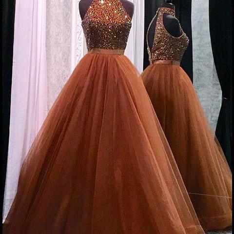 High neck prom dress, sexy prom dress,tulle and beading prom dress,a-line princess prom dress, high quality hand made prom dress, elegant wowen dress, party dress, evening dress, dress for teens L959