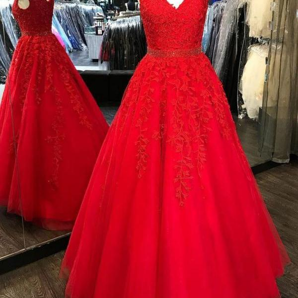 V-neck a-line princess prom dress,cap sleeves long prom dress,beautiful appliques and beading prom dress,elegant wowen dress,party dress, dress for teens L960