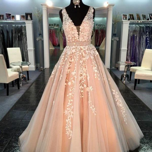 Deep V- neck long prom dress, a-line princess prom dress,lace appliques prom dress, beautiful beading prom dress,elegant wowen dress,party dress, dress for teens L962