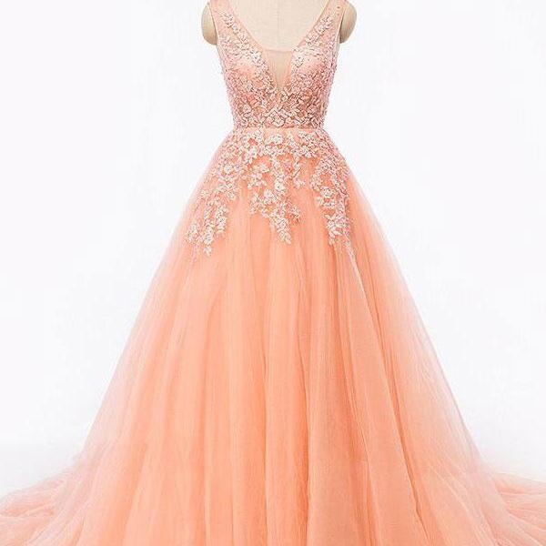 Deep V- neck long prom dress, a-line princess prom dress,lace appliques prom dress, beautiful beading prom dress,elegant wowen dress,party dress, dress for teens L963