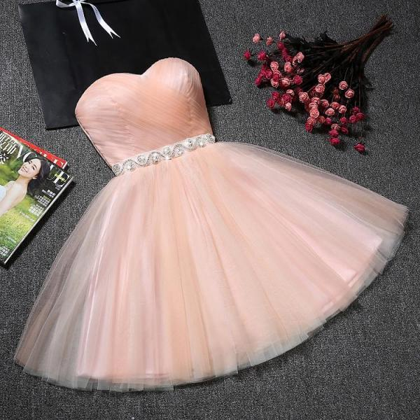 Sweatheart neck short homecoming prom dress,strapless prom dress, beautiful beading prom dress, high quality handmade prom dress, elegant wowen dress, party dress, dress for teens L972
