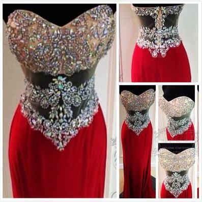 Sleeveless Prom Dress Sweatheart Neck Prom Dress Elegant Women dress,Party dress Long Evening Dresses Beading Prom Dress L039