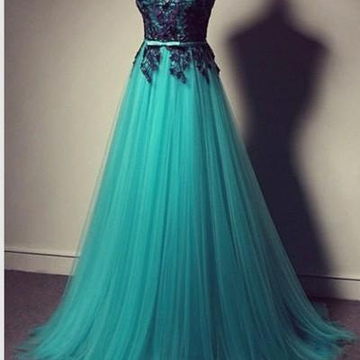 Sleeveless Prom Dress Lace Prom Dress Custom prom dress,A Line prom dresses Applique prom dress L040