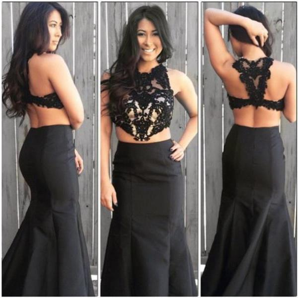 Two Pieces Black Prom Dress Elegant Women dress,Party dress Sleeveless Evening Dress L141