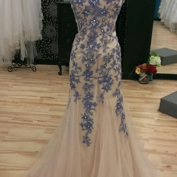 Strapless Sweetheart Floral Appliqués Mermaid Tulle Floor-Length Prom Dress, Evening Dress