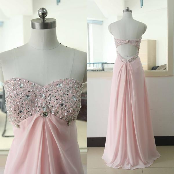 Sexy prom dress,strapless prom dress,long prom dress,chiffion prom dress,beautiful beading prom dress,pink prom dress,elegant wowen dress,party dress,evening dress,dress for teens L583