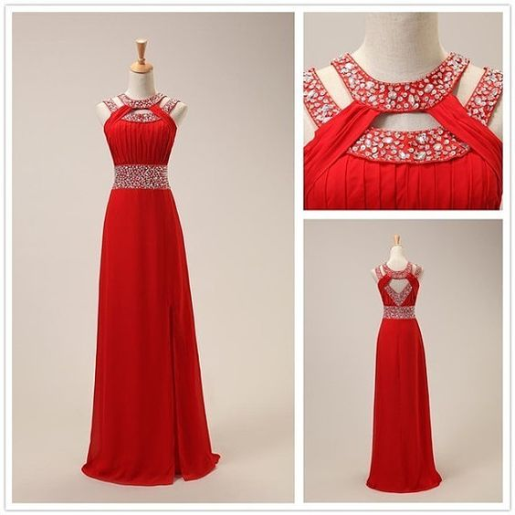 Red prom dress,chiffion prom dress,a-line prom dress,long prom dress,beautiful beading prom dress,dress for teens,elegant wowen dress,party dress,evening dress L570